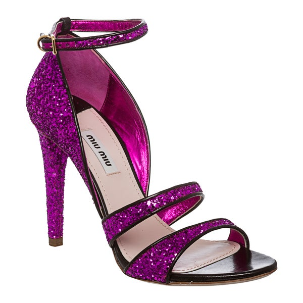 Miu Miu Women's Purple Glitter Stiletto Sandals