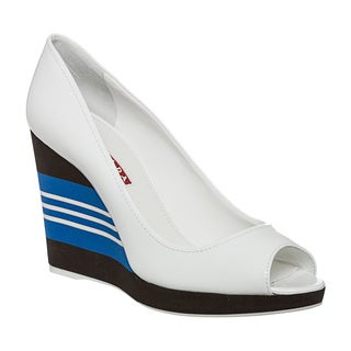 Prada Women's White Patent Leather Striped Peep-toe Wedges