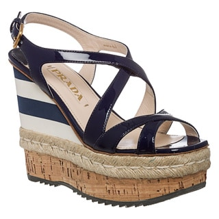 Prada Women's Royal Blue Patent Leather Striped Wedges