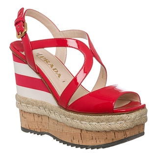 Prada Women's Red Patent Leather Striped Wedges