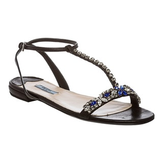 Prada Women's Jewel Encrusted T-Strap Leather Sandals