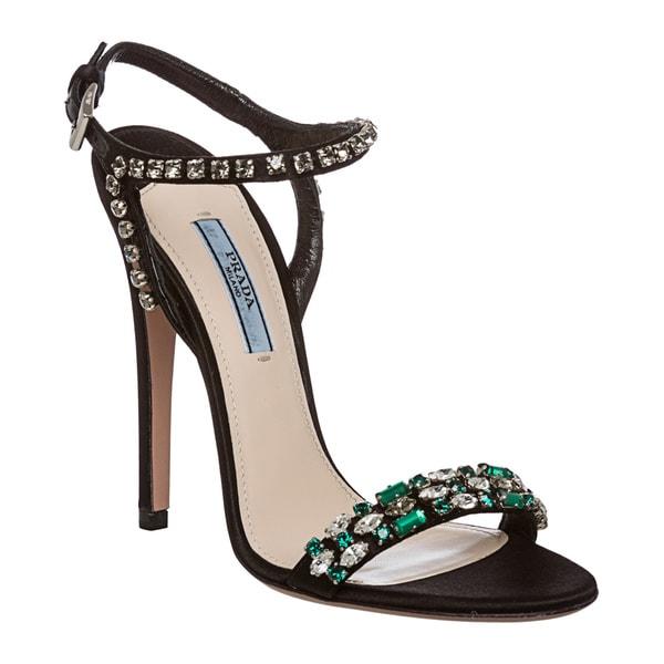 Prada Women's Jewel Embellished Satin Evening Heels