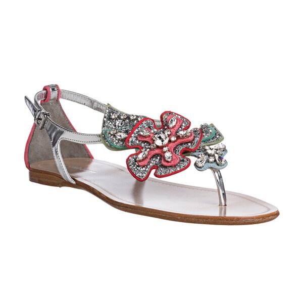 Miu Miu Women's Glitter Floral Applique Thong Sandals