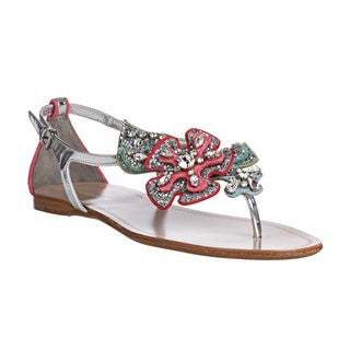 Miu Miu Women&#39;s Glitter Floral Applique Thong Sandals