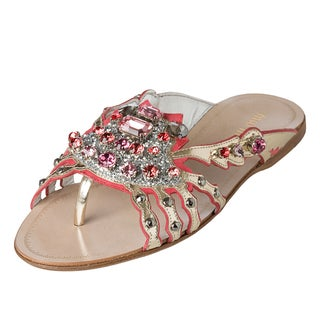 Miu Miu Women&#39;s Rhinestone Encrusted Metallic Sandals