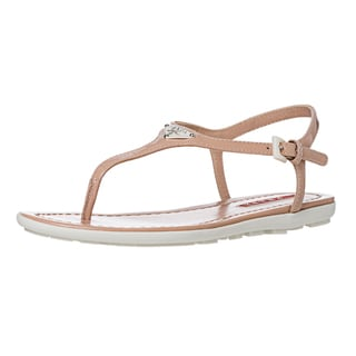 Prada Women's Nude Patent Leather Thong Sandals