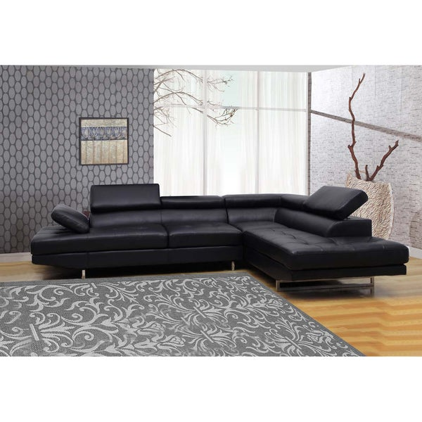 Black Bonded 2-piece Leather Sectional