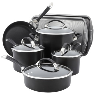 Circulon Symmetry Hard Anodized Nonstick 9-piece Cookware with 2-piece Bakeware Set, Black