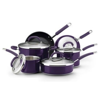 Rachael Ray Eggplant Stainless Steel 10-piece Cookware Set with $20 Mail-in Rebate