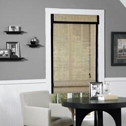 Riviera Natural/ Black Banding Bamboo Roman Shade