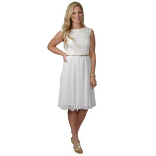 Jessica Howard Women's Lace Bodice Belted Cap Sleeve Sundress