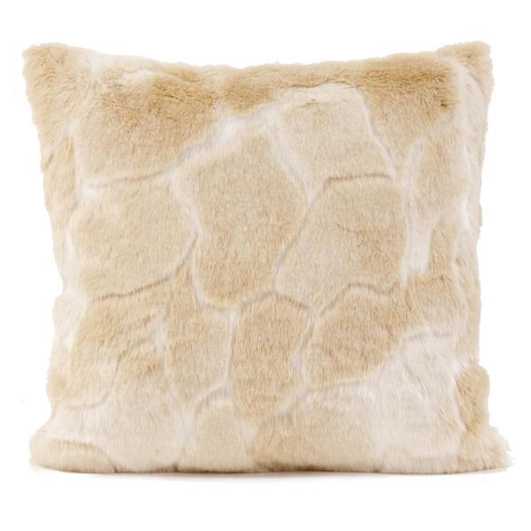 Natural Luscious Vegan Fur Throw Pillow