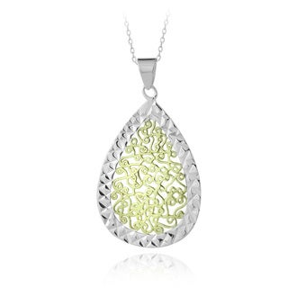 Mondevio Twotone Sterling Silver Diamond-cut Swirl Teardrop Necklace