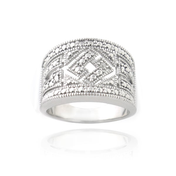 DB Designs Rhodium-plated Pave-set Diamond Accent Wide Ring