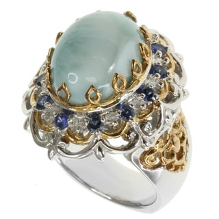 Michael Valitutti Two-tone Larimar and Blue Sapphire Ring