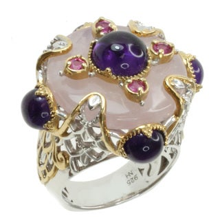 Michael Valitutti Two-tone Rose Quartz, Amethyst and Pink Sapphire Ring