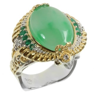 Michael Valitutti Two-tone Jade, Emerald and White Sapphire Ring