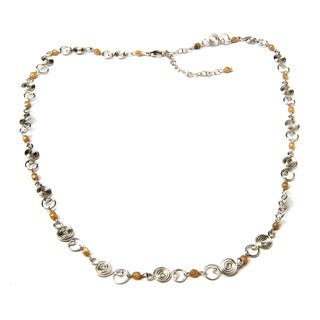 Handmade Brass Necklace with Mini Glass Beads (India)