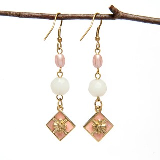 Handmade Enamel and Pearl Earrings (India)