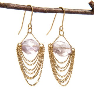 Handmade Wire Chain Earrings with Purple Stone (India)