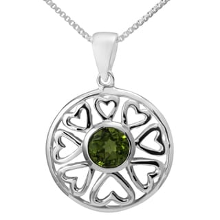 Sterling Silver 'Multi Hearts' Peridot Necklace (Thailand)