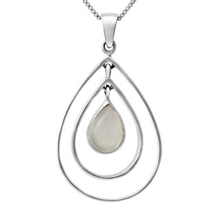 Sterling Silver Pear Drop Moonstone Hoop Necklace (Thailand)