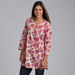 Handmade Pink Floral Cotton Tunic (India)