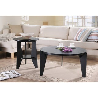 Furniture of America Ponzuki Black 2-piece Coffee/ End Table Set