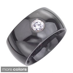 Black or White Ceramic Colored Cubic Zirconia Fashion Band