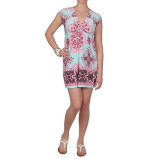 Journee Collection Juniors Empire Waist Printed Deep V-neck Tunic