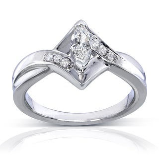Annello 14k White Gold 1/3ct TDW Marquise Diamond Engagement Ring (H-I, I1-I2)