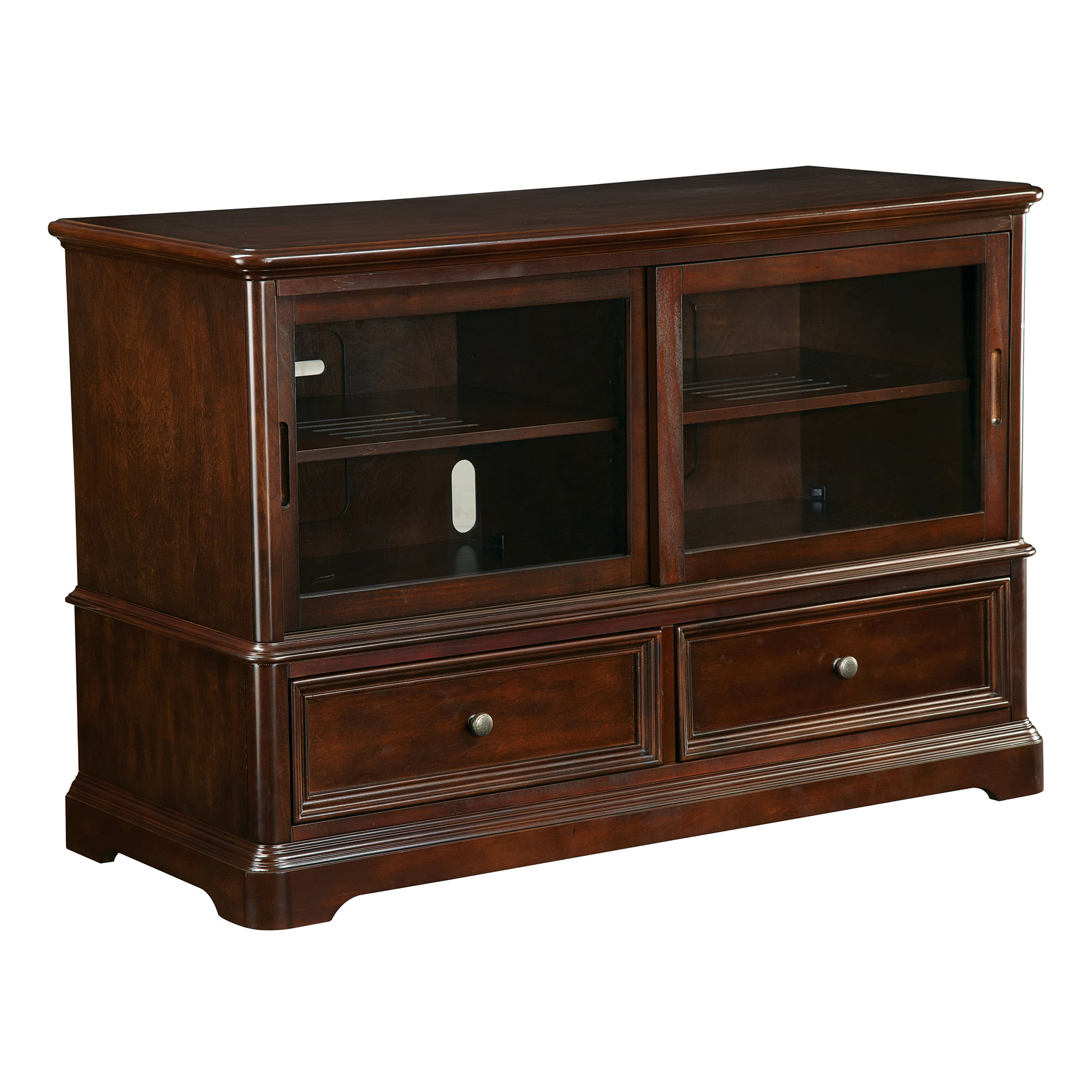 Office Star Inspired by Bassett Bennington Wood and Glass TV Console at Sears.com