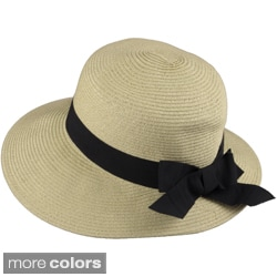 Journee Collection Women's Ribbon Accent Braided Paper Hat