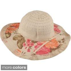 Journee Collection Women's 4.5-in Brim Floral Print Ribbon Hat