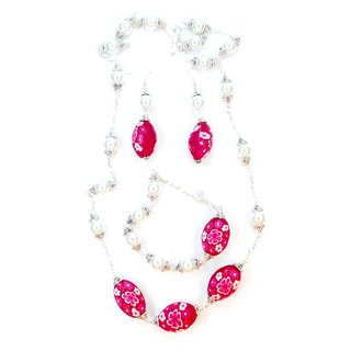 Silverplated White Glass Pearl and Red Fimo Clay Bead Jewelry Set