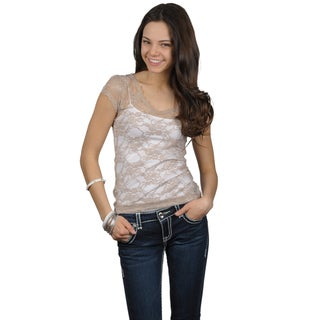 Journee Collection Juniors Scoop Neck Cap Sleeve Lace Top