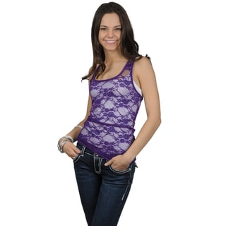 Journee Collection Juniors Racer Back Lace Tank Top