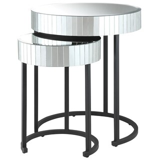 Krystal Round Mirror 2-piece Nesting Table Set