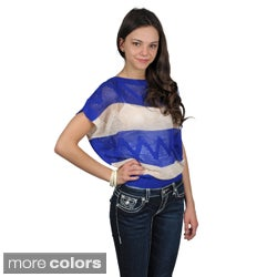 Journee Collection Juniors Striped Crochet Short Sleeve Top