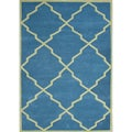 Handmade Alliyah Aqua New Zealand Wool Blend Rug (4' x 6')
