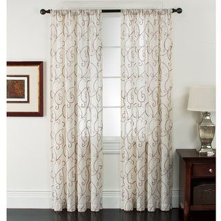 Riverhead Linen Embroidered Curtain Panel Pair