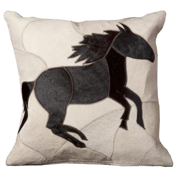 Mina Victory Natural Leather and Hide Horse Ivory Throw Pillow (16-inch x 16-inch) by Nourison