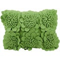 Mina Victory Felt Sunflowers Forest Green 12 x 18-inch Decorative Pillow by Nourison