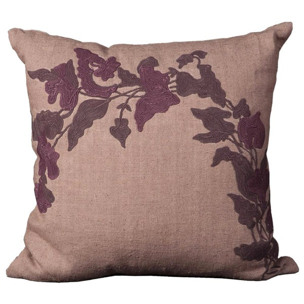 Mina Victory Cotton Floral Lilac 20-inch Square Decorative Pillow