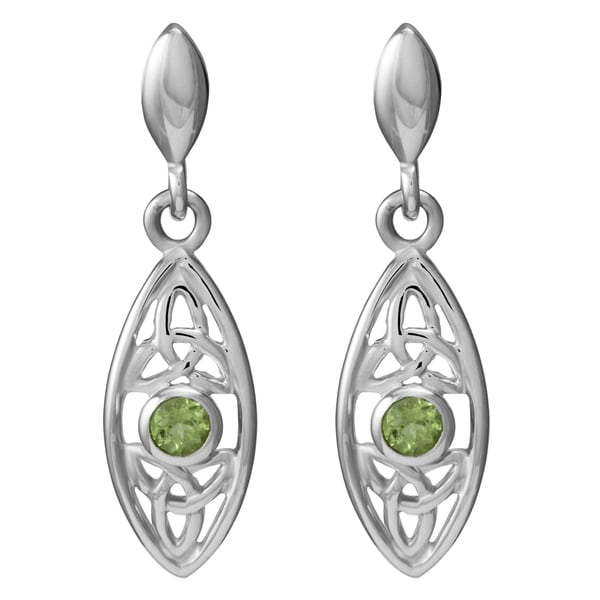 Sterling Silver Celtic Knot Design Natural Round Peridot Gemstone Earrings (Thailand)