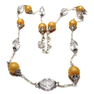 Silverplated Gold Glass Pearl and Clear Crystal Jewelry Set