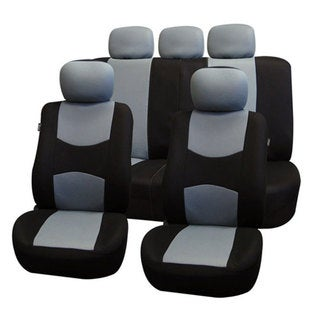 FH Group Gray Airbag Compatible Split Bench Full Set Seat Covers