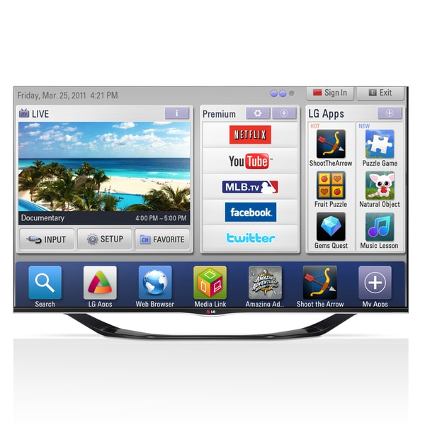 "LG 55LA6900 55"" 1080p 120Hz 3D LED Smart TV"