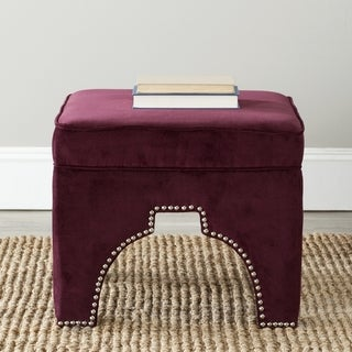 Safavieh Sahara Bordeaux Red Nailhead Ottoman