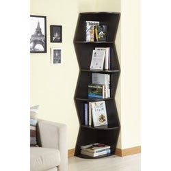 Waverly Modern Walnut 6-tier Corner Bookcase/ Display Cabinet